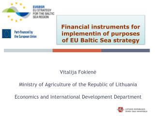Financial instruments for implementin of purposes of  EU  Baltic Sea strategy