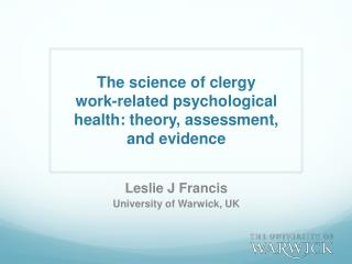 The  science of clergy  work-related psychological health: theory, assessment,  and evidence