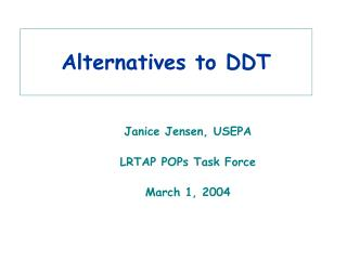 Alternatives to DDT