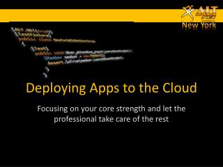 Deploying Apps to the Cloud