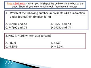 Which of the following numbers represents 74% as a fraction and a decimal? (in simplest form)