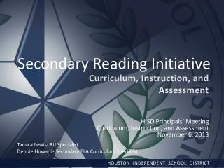 Secondary Reading Initiative