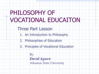 PHILOSOPHY OF VOCATIONAL EDUCAITON