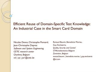 Efficient Reuse of Domain-Specific Test Knowledge: An Industrial Case in the Smart Card Domain