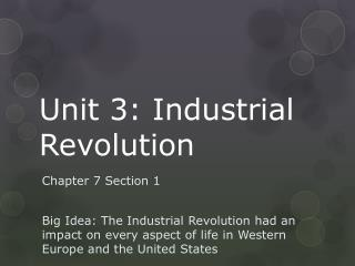 Unit 3: Industrial Revolution