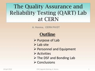 The Quality Assurance and Reliability Testing (QART) Lab at CERN