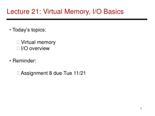 Lecture 21: Virtual Memory, I/O Basics