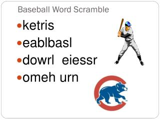 Baseball Word Scramble