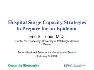 Hospital Surge Capacity Strategies to Prepare for an Epidemic