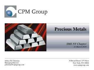 Precious Metals SME NY Chapter 11 March 2010