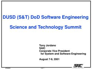 DUSD (S&T) DoD Software Engineering Science and Technology Summit