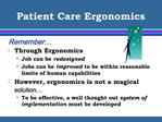 Patient Care Ergonomics