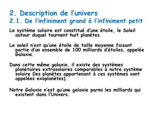2 . Description de l'univers 2.1. De l'infiniment grand à l'infiniment petit