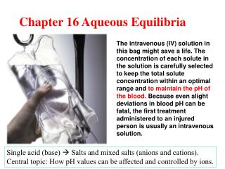 Chapter 16 Aqueous Equilibria