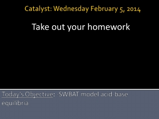 Today's Objective : - SWBAT model acid-base equilibria