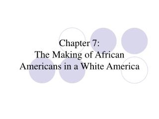 Chapter 7: The Making of African Americans in a White America