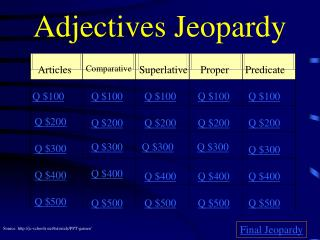 Adjectives Jeopardy