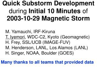 Quick Substorm Development  during  Initial 10 Minutes  of  2003-10-29 Magnetic Storm