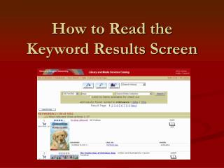 How to Read the Keyword Results Screen