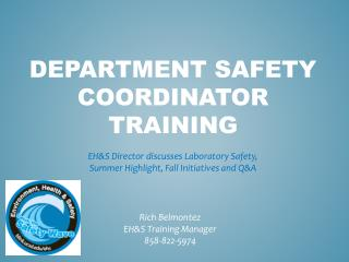 DEPARTMENT Safety Coordinator Training