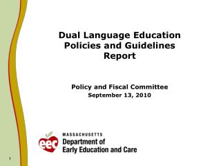 Dual Language Education  Policies and Guidelines  Report