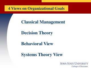 Classical Management Decision Theory Behavioral View Systems Theory View