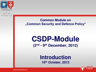 Importance of the CSDP-Module