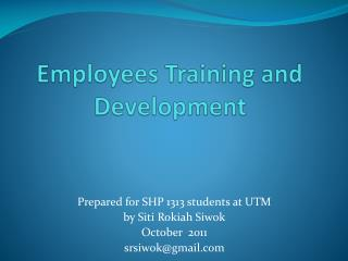 Employees Training and Development