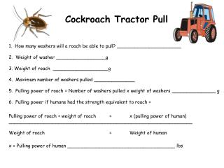 1.  How many washers will a roach be able to pull? \_\_\_\_\_\_\_\_\_\_\_\_\_\_\_\_\_\_\_\_\_\_
