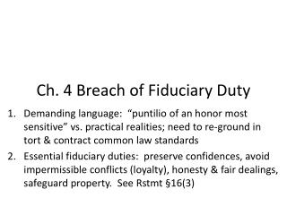 Ch. 4 Breach of Fiduciary Duty