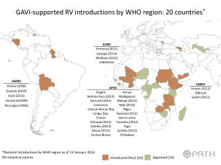 GAVI-supported RV introductions by WHO region:  20  countries *