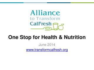 One Stop for Health & Nutrition