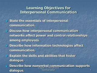 Learning Objectives for Interpersonal Communication