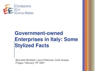 Government-owned Enterprises in Italy: Some Stylized Facts