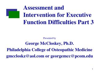 Assessment and Intervention for Executive Function Difficulties Part 3