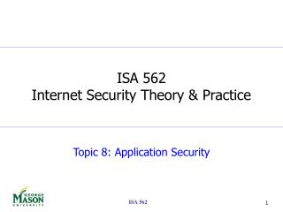 Topic 8: Application Security