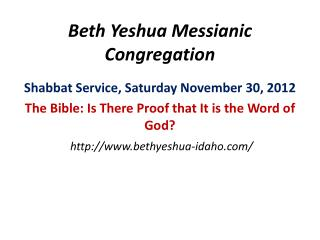Beth Yeshua Messianic Congregation