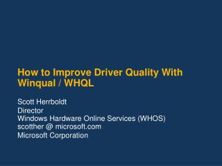 How to Improve Driver Quality With Winqual / WHQL