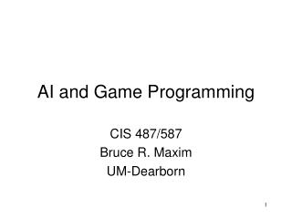 AI and Game Programming