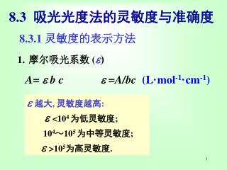 8.3 吸光光度法的灵敏度与准确度
