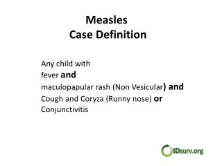 Measles Case Definition