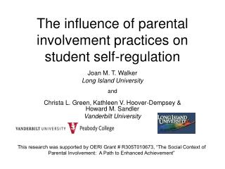 The influence of parental involvement practices on student self-regulation
