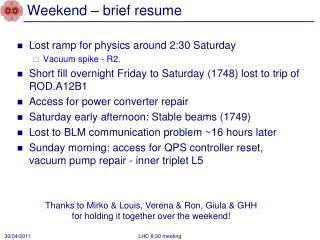 Weekend – brief resume