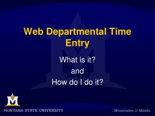 Web Departmental Time Entry