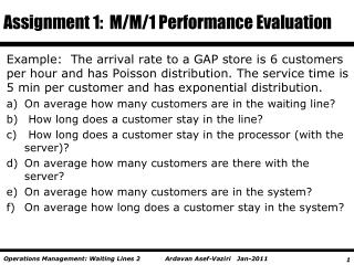 Assignment 1:  M/M/1 Performance Evaluation