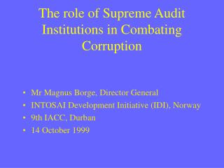 The role of Supreme Audit Institutions in Combating Corruption
