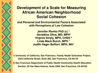 Development of a Scale for Measuring African American Neighborhood Social Cohesion