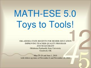 MATH-ESE 5.0 Toys to Tools!
