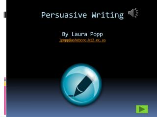 Persuasive Writing By Laura Popp lpopp@asheboro.k12.nc