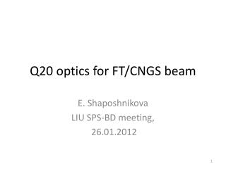 Q20 optics for  FT/CNGS  beam